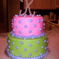 "Green Pink & Purple Dots This was my first ""paid cake!"" I was so pleased with how it turned out. It's white cake with strawberry cream filling &..."