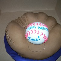 Baseball And Mit all is made out of cake. the ball is a personal for Jared