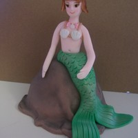 Personal Cake For B-Day Girl   made the mermaid out of fondant. Everything is edible.