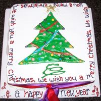 Royal Icing Christmas Cake  the picture was a royal licing runout that I just peeled off the backing paper and transfered onto the cake. Quick and easy after all the...
