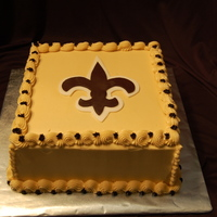Go Saints! 10 inch double squares. Fleur de lis is fondant. BC all else.