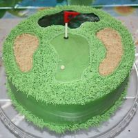 "Fore! Chocolate 10"" cake with vanilla buttercream. Buttercream frosting, pecan sandies and nilla wafers crushed for sand trap, and piping..."