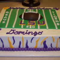Lsu Birthday white cake with buttercream and fondant decorations. I had alot of fun with this cake. It's far from perfect, but I am pretty happy...