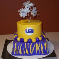 101_0133.jpg  18th birthday cake for my daughters friend who will be attending LSU in the fall. All BC with fondant accents. have you ever had a day when...
