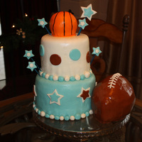 "All Star Cake 6"" and 8"", mini sports ball pan for the basketball and 3 oval pans carved for the football."