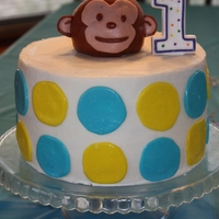 "Mod Monkey 8"" marble cake with banana creme filling. Monkey is small ball pan"