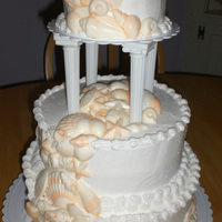 Wedding Cake With Shells For a beach themed Wedding. Shells are white chocloate painted wih peach luster dust.