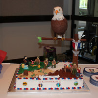Eagle Scout Ceremony The cake I made for my son and 3 of his fellow scouts that just received their Eagle Scout rank. The decorations are fondant and gum paste...