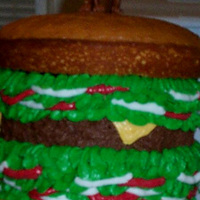 Giant Hamburger Hamburger cake (with Scooby Doo cake topper).