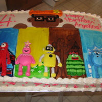 Yo Gabba Gabba Made for a little girl who loves yo gabba gabba. iced in butter cream, with mmf backgrounds painted with gel color mixed with vodka. The...