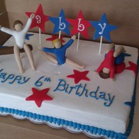 Gymnastics Cake  My best friend's little girl loves gymnastics and requested this cake for her birthday. This was my second time modeling people. I...