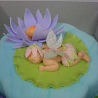 Fairy Baby On Lily Pad All fondant cake including decorations I made for a shower in Dec07