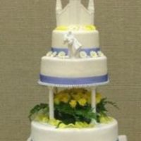 First Wedding Cake This was my first wedding cake. It was a white and choco fudge marble cake with my canolli filling covered in fondant. I made the temple...