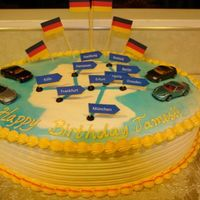 German Autobahn Birthday Cake I was asked to make this birthday cake for a man who has a dream of driving fast on the German Autobahn some day. He loved the Hot Wheel...