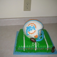 Miami Dolphins Cake lots of mishaps for this cake, but when all was said and done (out the door) it turned out ok! glad to see this one go! tfl