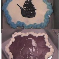 Pirates Of The Caribbean Cupcake cakes chocolate with chocolate frosting and white with vanilla frosting. the black pearl ship and captain jack sparrow are frozen...
