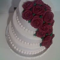 Classic Rose Wedding Cake Top View Royal Roses White butter cream on White cake with lemon filling