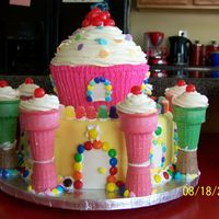 Candy Castle Based on the one in the 2008 Wilton book, but adapted so I didn't have to buy the castle kit and cupcake pan. Made for my girls'...