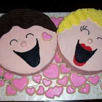 "Bride And Groom This is 2 ""face"" cakes and sugar cookies that I did for a Jack and Jill shower."