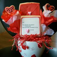 Sweetheart Cookie Bouquet NFSC with antonia74 icing. I found the bowl at the Good Will store for .25 cents. I made this for my husband. He's such a gem; he...