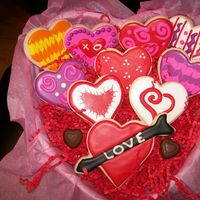 Assorted Valentine Cookies NFSC with antonia74 icing. NFSC are english toffee
