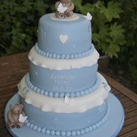 3 Tier Stacked Christening Cake All sponge 3 tier stacked pale blue & Ivory Christening cake with bears.