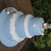 Blue And Ivory, Three Tier Bear Christerning Cake