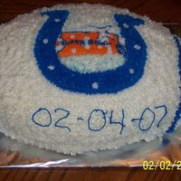 Colts Football superbowl party ... football pan choc cake all buttercream....go colts