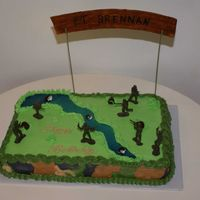 Ft Brennan   This cake was done for a boy who loved military and camo scenes. The banner is fondant