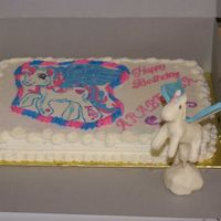 My Little Pony, Starcatcher   This was a Frozen Buttercream transfer and accented with a modeling chocolate pony.