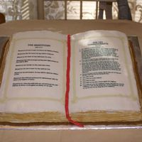 Bible And Nativity This is an alternate view of my bible cake. This, again, was carved and not done with a book pan. All of my cakes now are done free hand.