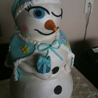 Snowman 3D snowman, all cake carved and covered in bc