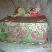 Tinkerbell And Pink Fairy Cake  I made this for my sisters' 21st and 18th birthdays. The fairies look as though they're leaning over in this picture, but they&#...