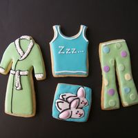Pajamas, Robe, Bunny Slippers Sugar cookies with RI. Made for a friend.
