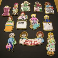 Quilt Shop Cookies Made for my friends at local quilt shop. They were celebrating their5th anniversary. Each cookie represents the owner, her employees,and a...