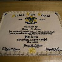 High School Graduation Diploma Cake 2 flavors, 12 x 18, buttercream with RI accents. Exact duplicate of graduate's diploma.
