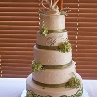 Wedding Cake Five tiers of assorted flavors, buttercream frosting decorated gumpaste hydrangeas, lily of the valley, and RI clovers.