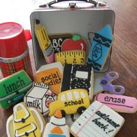 Back To School Sugar cookies with RI made for back to school celebration. Made a total of 90 cookies with 15 different designs.