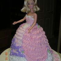 Barbie Doll Dress Cake This was my first doll cake. Instead of using a doll pick to stick in the top, I used a real doll and wrapped her in plastic wrap. I used a...