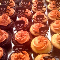 Halloween Party Cupcakes Vanilla and Chocolate cupcakes with vanilla buttercream frosting.