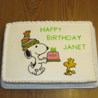 Snoopy Birthday Birthday cake with Snoopy and Woodstock.