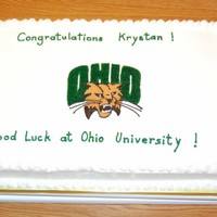 Ohio University Graduation Graduation cake with Ohio University mascot logo.