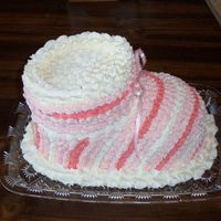 Baby Bootie Cake This is for a co-workers baby shower and since she is having a girl I made it in pink. it is a chocolate cake with buttercream frosting....