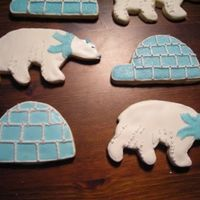 Polar Bears And Igloos   Sugar cookies with royal icing. Dragees for accents.