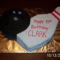 "Bowling Ball And Pin Birthday Cake This was made using a round 9""pan and I cut the pin out of an 11x14 pan."