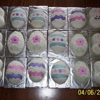 Easter Mini Cakes These are made with the Wilton mini egg and bunny pans. They were for an Easter Egg hunt with the Girl Scouts.