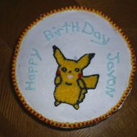 "Birthday Pokemon 8"" round buttercream Pokemon Pikachu cake. (My first Pikachu Pokemon cake)."
