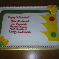 Retirement Traffic Signal Cake 1/2 sheet cake in buttercream with signal done in fondant. Aug., 2008