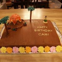 Luau Birthday Cake I added a couple of small drop flowers around the writing before it was picked up but didn't get a picture.