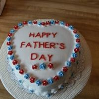 Last Minute Father's Day Cake top layer is Devil's Food, bottom is white. Did it as a last minute cake for FIL and BIL